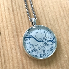 Bayou Sauvage Map Necklace in Blue
